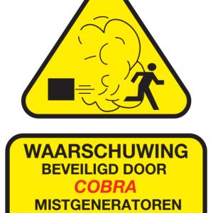 waarschuwingssticker mistbeveiliging mistmachine COBRA